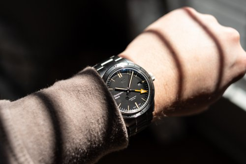 Wrist shot of the Christopher Ward C65 GMT