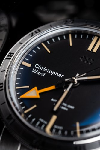 The orange GMT hand on the Christopher Ward C65 GMT