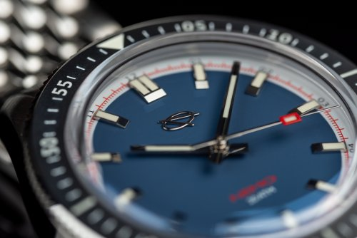 Denim blue dial of the EMG Nemo